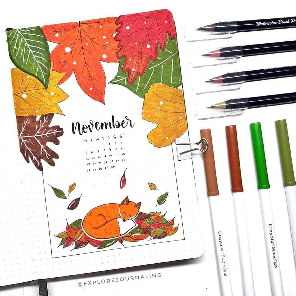 Fall Bullet Journal Theme Inspirations - cover page by @limmyart | Masha Plans