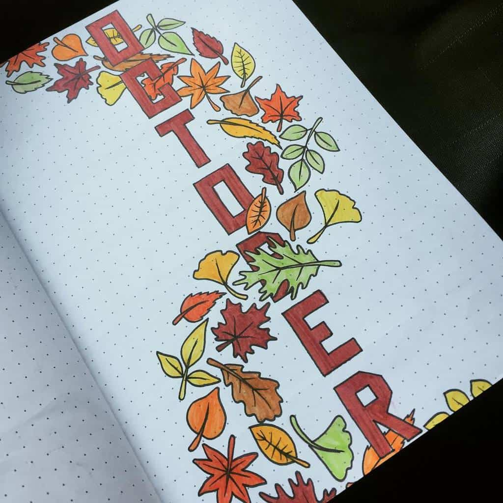 Fall Bullet Journal Theme Ideas - cover page by @lindy_hop24 | Masha Plans