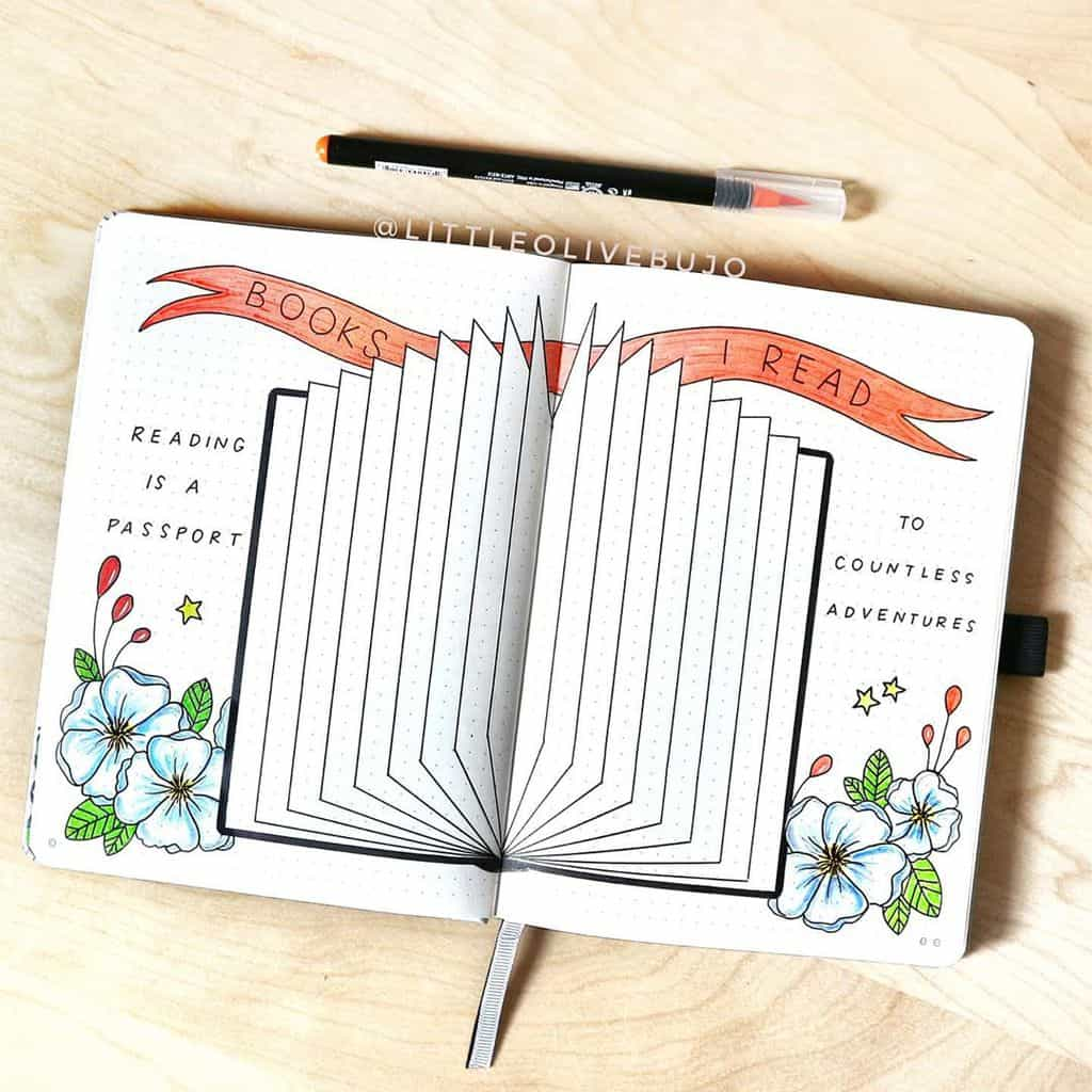 Book Bullet Journal Theme Ideas And Inspirations - book tracker by @littleolivebujo | Masha Plans