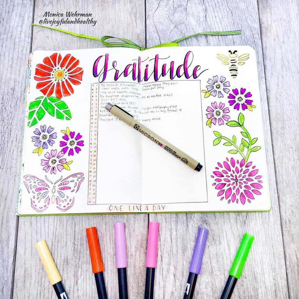 Bullet Journal Gratitude Log by @livejoyfulandhealthy | Masha Plans