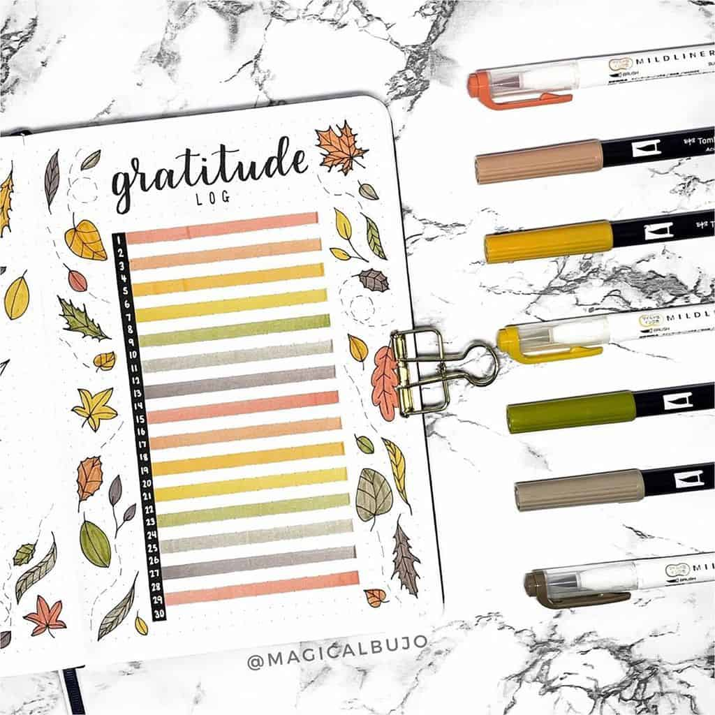Bullet Journal Gratitude Log by @magicalbujo | Masha Plans