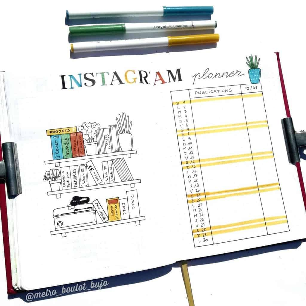 Book Bullet Journal Theme Ideas And Inspirations - instagram tracker by @metro_boulot_bujo | Masha Plans