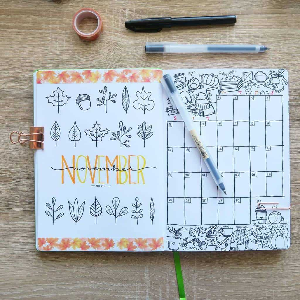 Fall Bullet Journal Theme Inspirations - cover page by @pecca.designs | Masha Plans