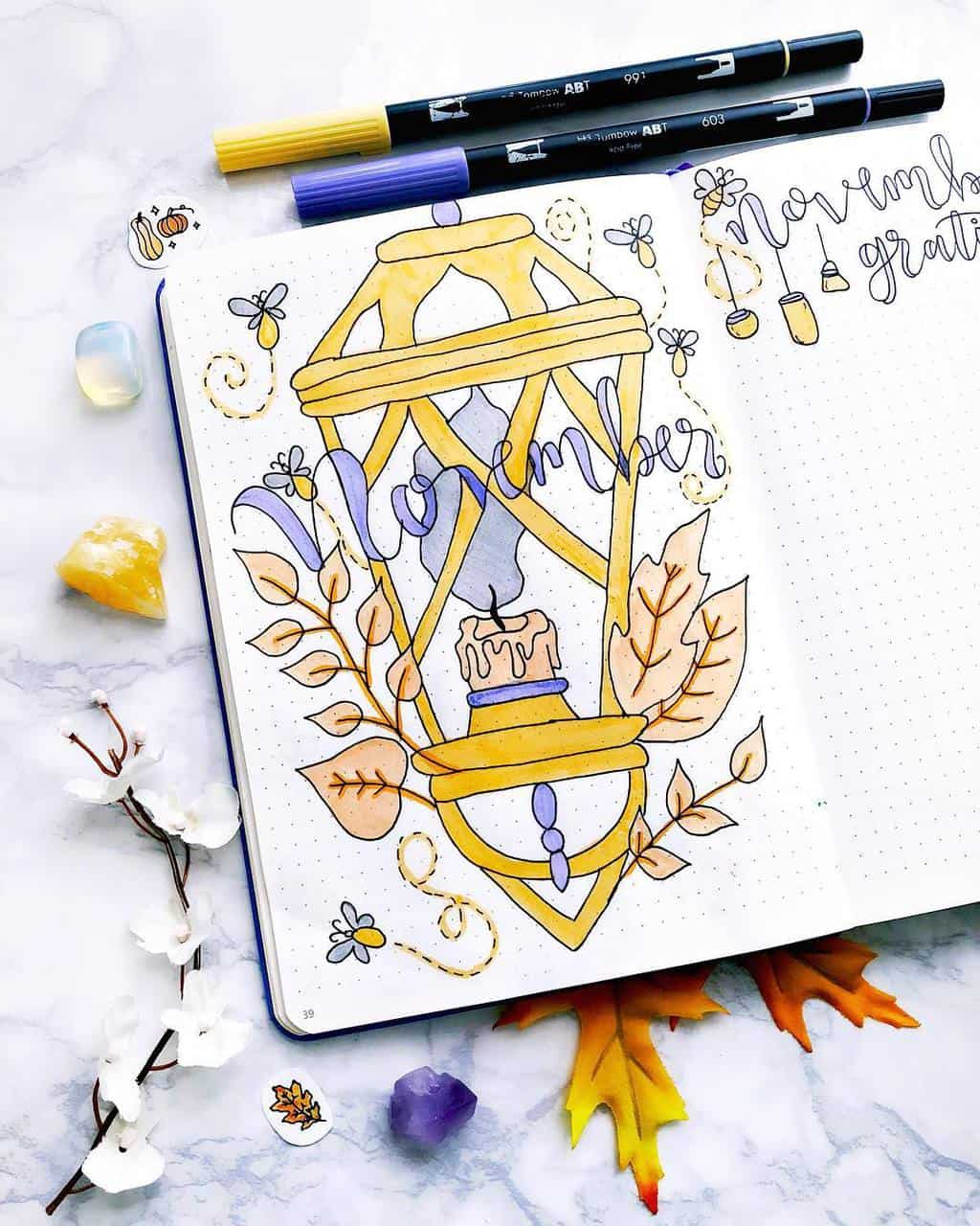 Fall Bullet Journal Theme Inspirations - cover page by @plan.tful | Masha Plans
