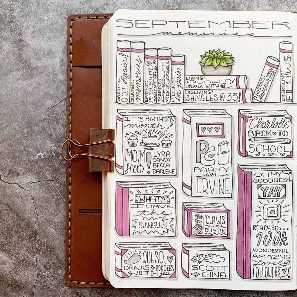 Book Bullet Journal Theme Ideas And Inspirations - memory page by @plansthatblossom | Masha Plans