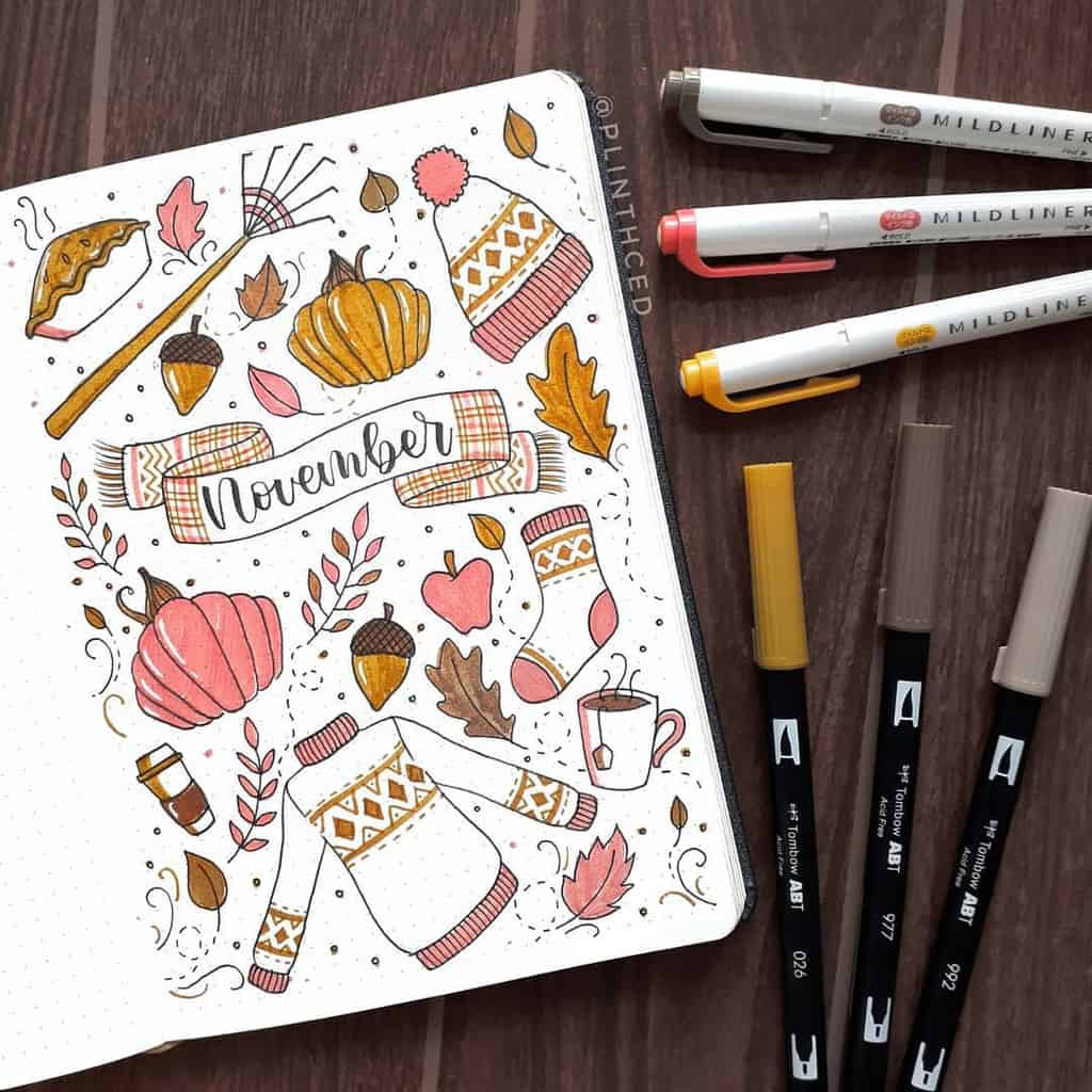 Fall Bullet Journal Theme Ideas - spread by @plinthced | Masha Plans