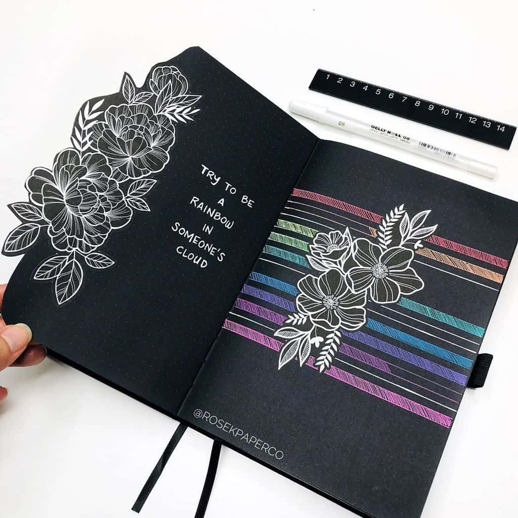 Floral Bullet Journal Spread by @rosekpaperco | Masha Plans