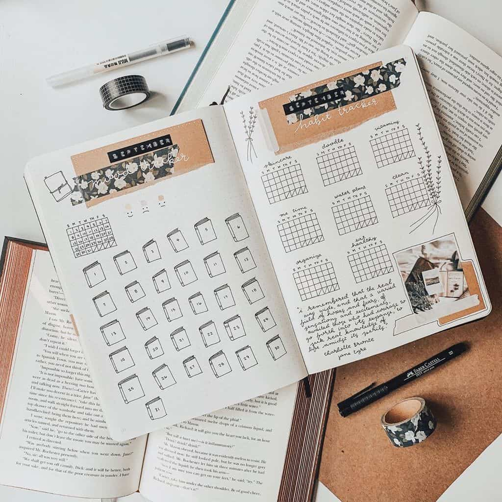 Book Bullet Journal Theme Ideas And Inspirations - habit tracker by @savannahfscribbles | Masha Plans