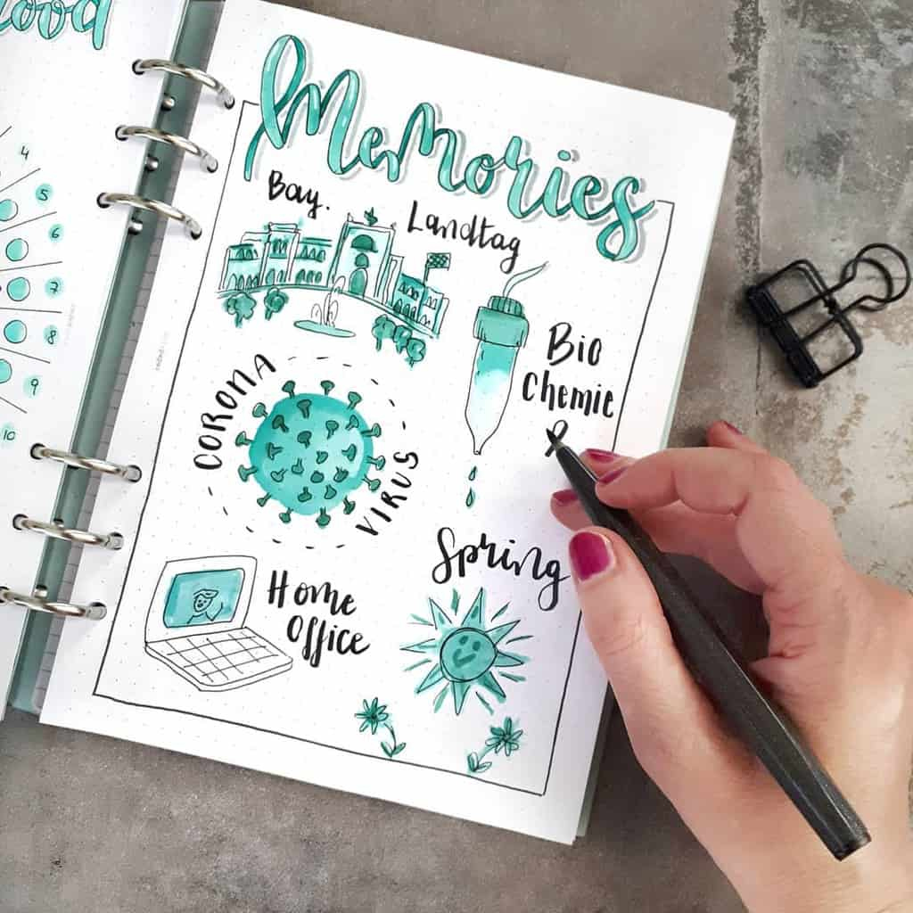 Bullet Journal Memories Page by @seras.bullet.journal | Masha Plans