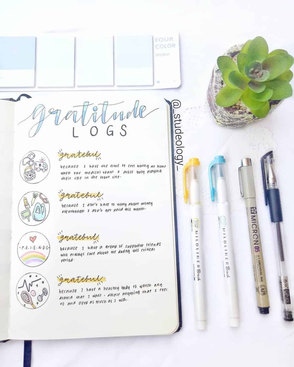 Bullet Journal Gratitude Log by @_studeology_ | Masha Plans