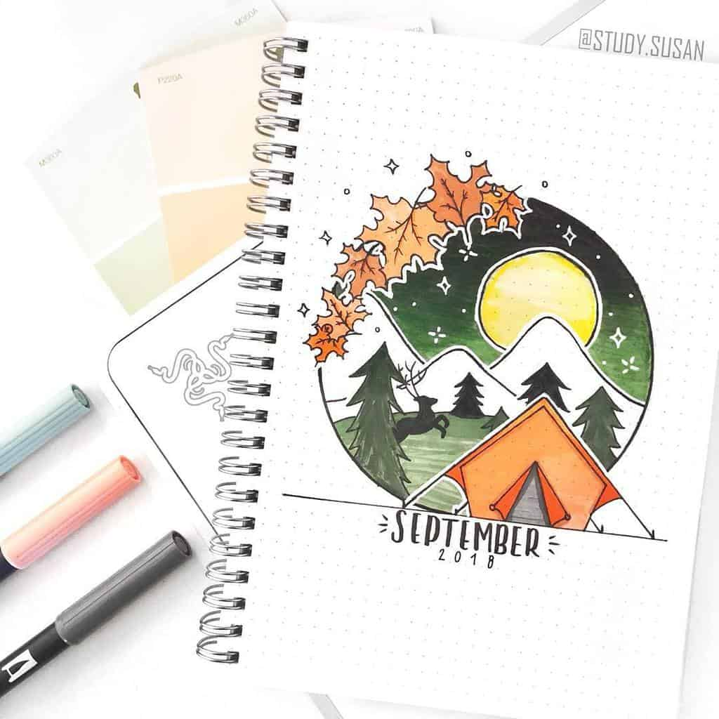 Fall Bullet Journal Theme Inspirations - cover page by @study.susan | Masha Plans