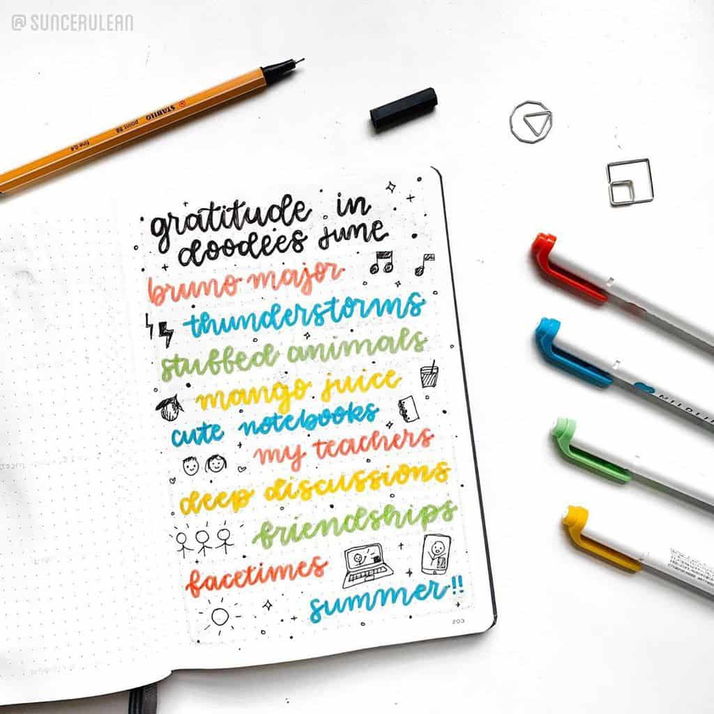 Bullet Journal Gratitude Log by @suncerulean | Masha Plans