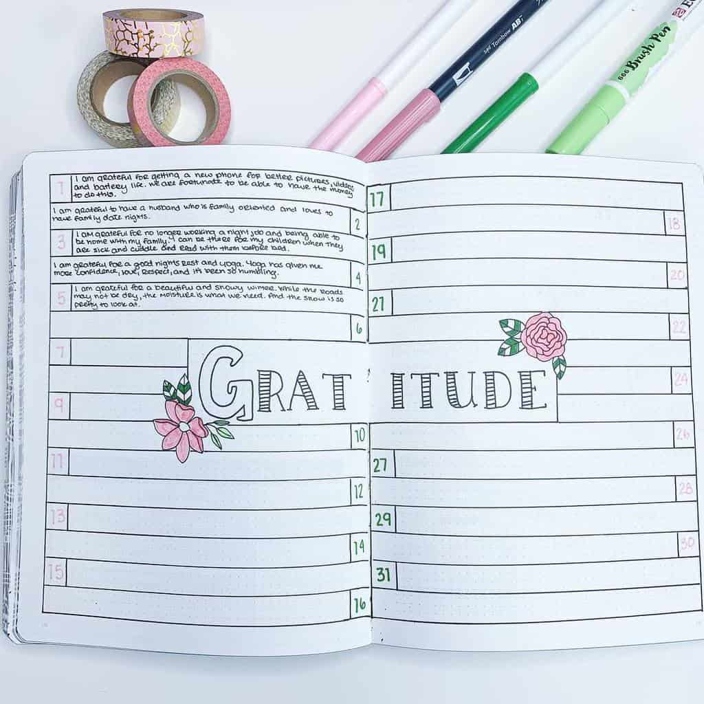 Bullet Journal Gratitude log by @the.petite.planner | Masha Plans
