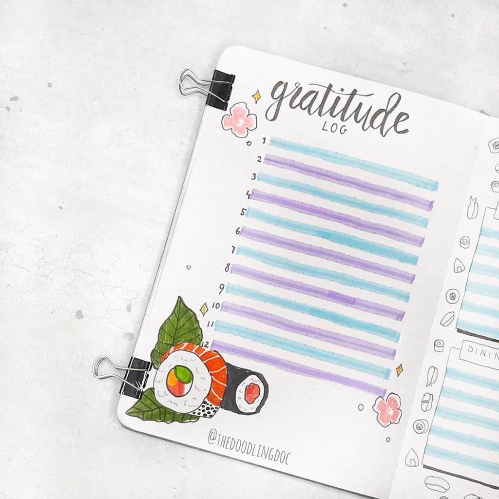 Bullet Journal Gratitude Log by @thedoodlingdoc | Masha Plans