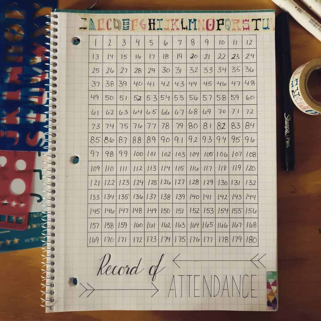 Homeschool Bullet Journal Page Ideas - attendance tracker by @thehumblenotebook | Masha Plans