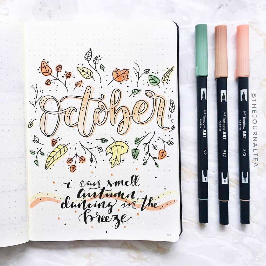 Fall Bullet Journal Theme Inspirations - cover page by @thejournaltea | Masha Plans