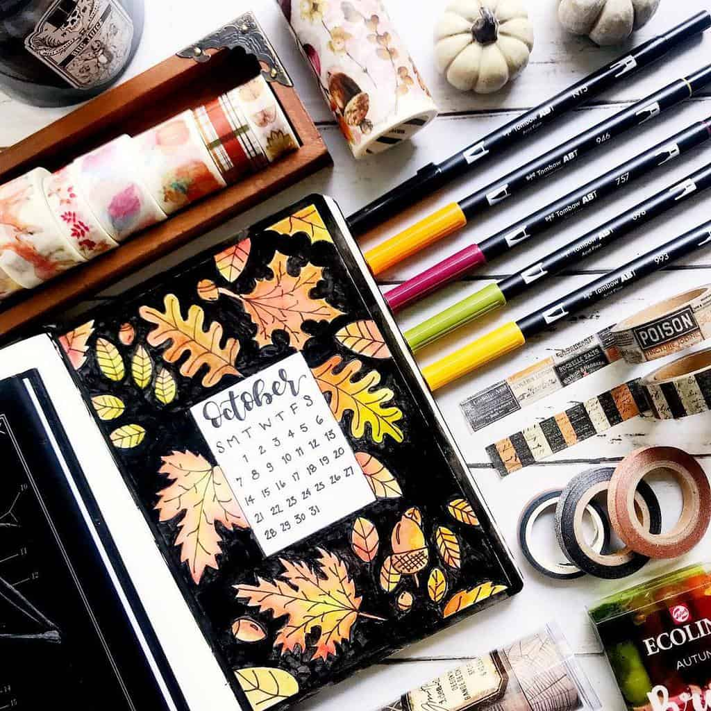 Fall Bullet Journal Theme Inspirations - cover page by @xpaperwingsx | Masha Plans