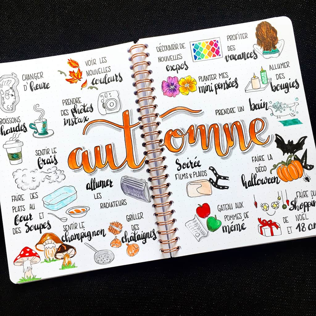 31 Fall Bucket List ideas and Bullet Journal Inspirations - spread by @100drine_bujo   Masha Plans