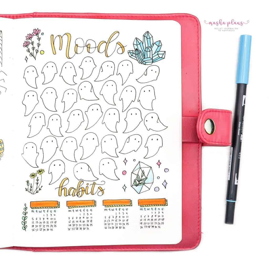 Plan With Me: October 2020 Bullet Journal Setup - mood tracker / habit tracker | Masha Plans