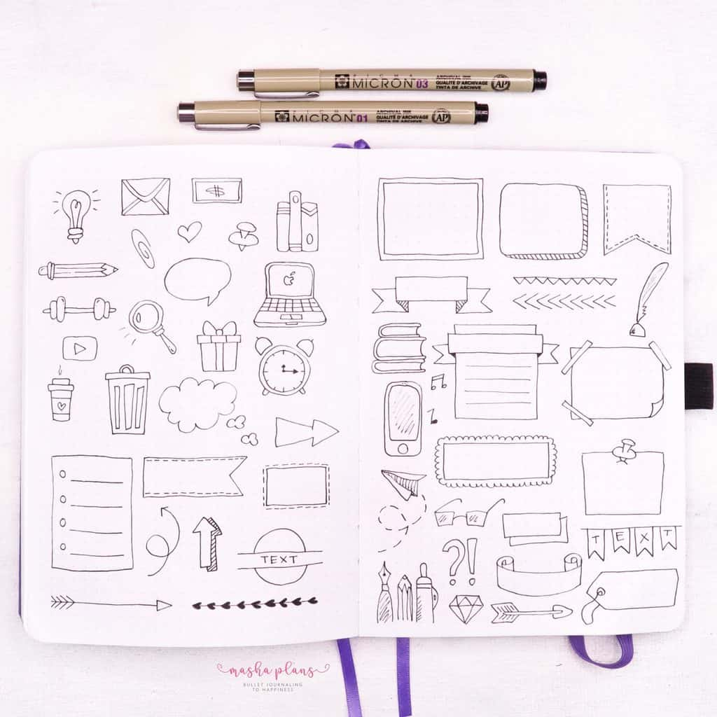 Sketchnotes: Intro To Visual Note-taking - sketch note elements | Masha Plans