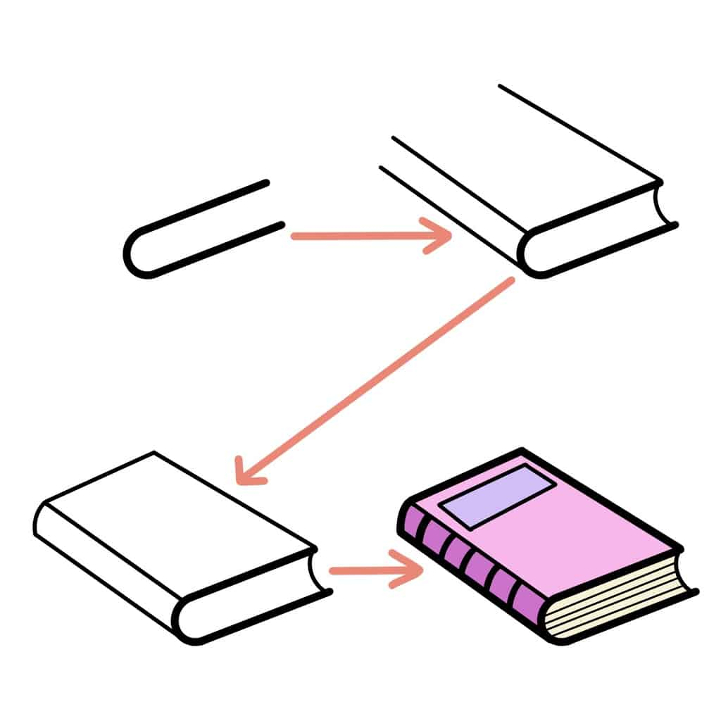 7 Simple Ways To Draw A Book - angled book | Masha Plans