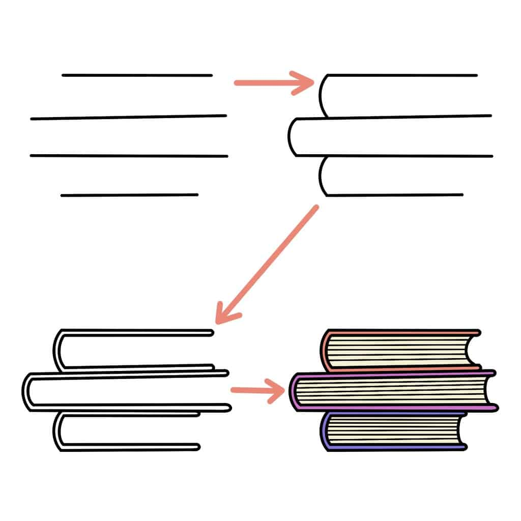 7 Simple Ways To Draw A Book - stack of books (bottom view) | Masha Plans