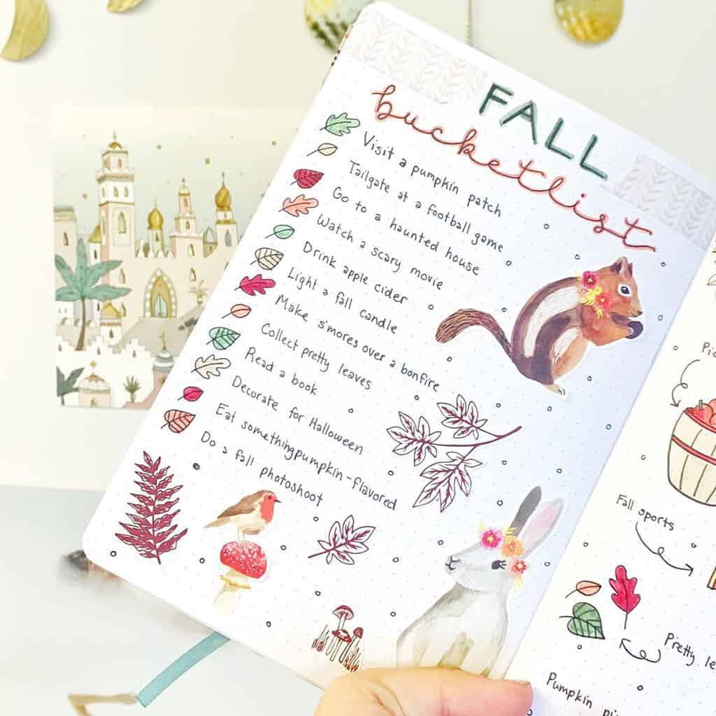 31 Fall Bucket List ideas and Bullet Journal Inspirations - spread by @abulletjournaladay | Masha Plans