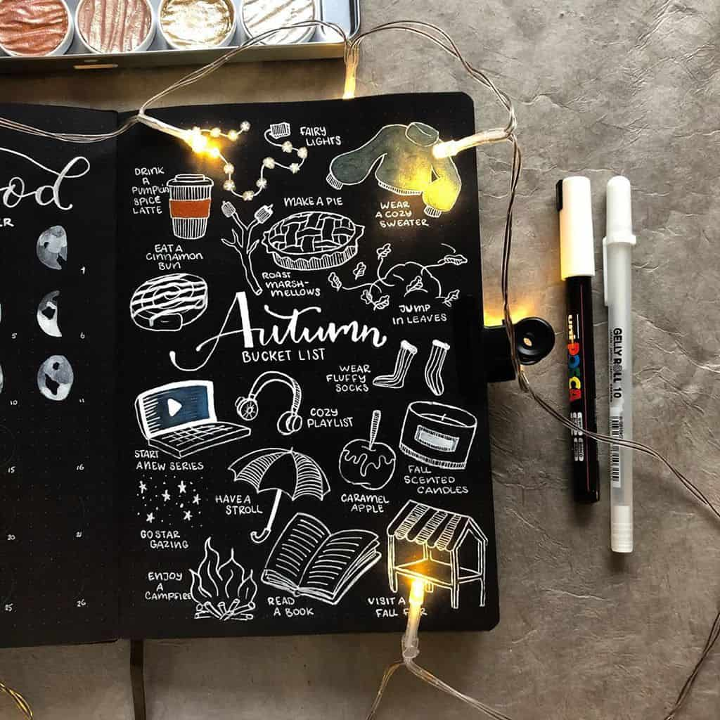 31 Fall Bucket List ideas and Bullet Journal Inspirations - spread by @ambersnotebooks   Masha Plans