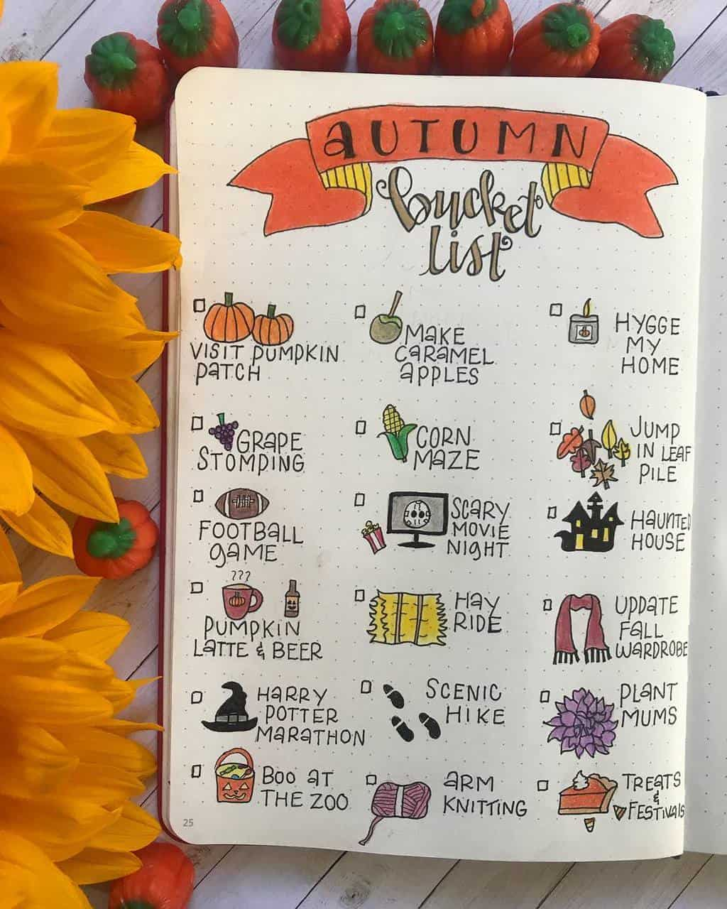 31 Fall Bucket List ideas and Bullet Journal Inspirations - spread by @amdreasbujo   Masha Plans