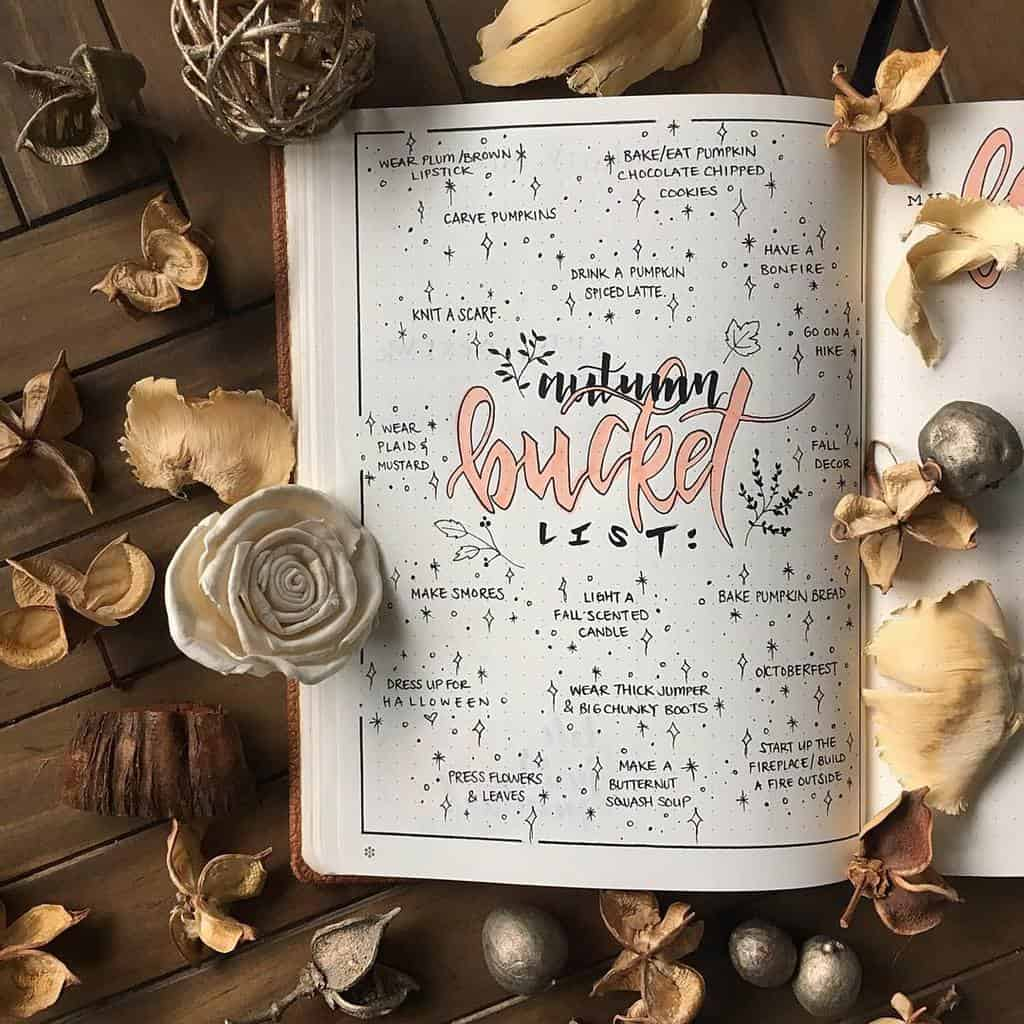 31 Fall Bucket List ideas and Bullet Journal Inspirations - spread by @bujowithbecky   Masha Plans