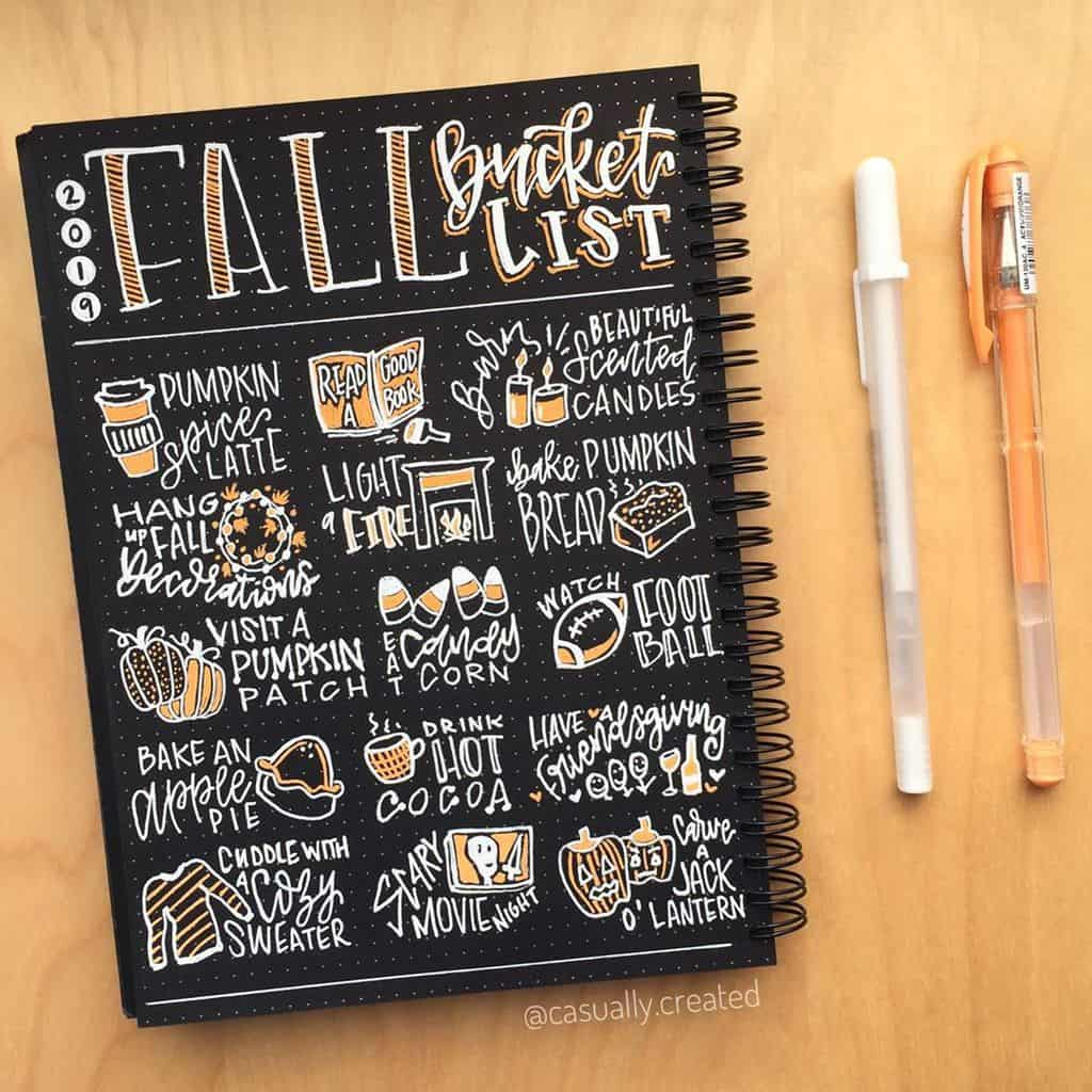 31 Fall Bucket List ideas and Bullet Journal Inspirations - spread by @casually.created   Masha Plans
