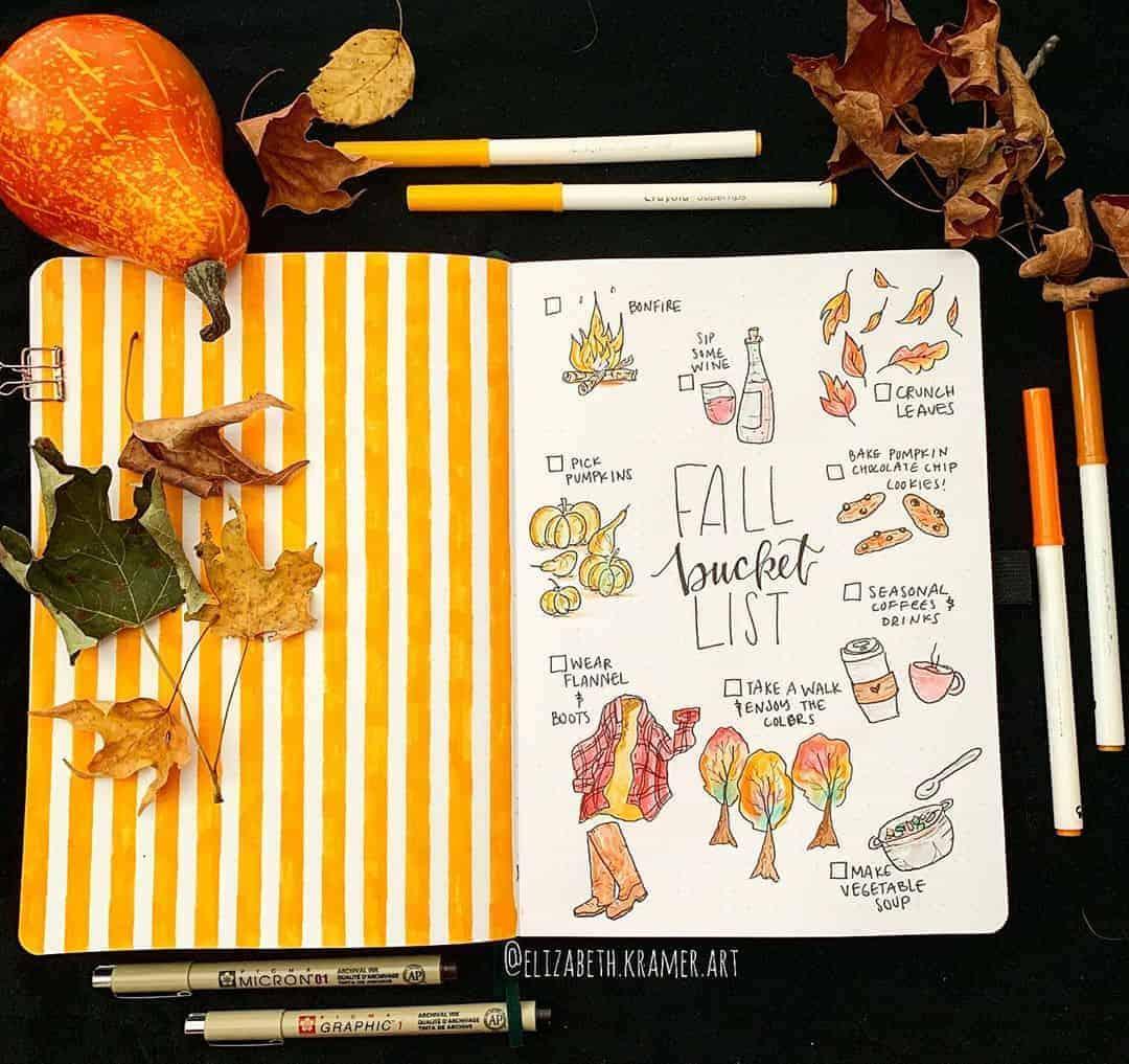 31 Fall Bucket List ideas and Bullet Journal Inspirations - spread by @elizabeth.kramer.art   Masha Plans