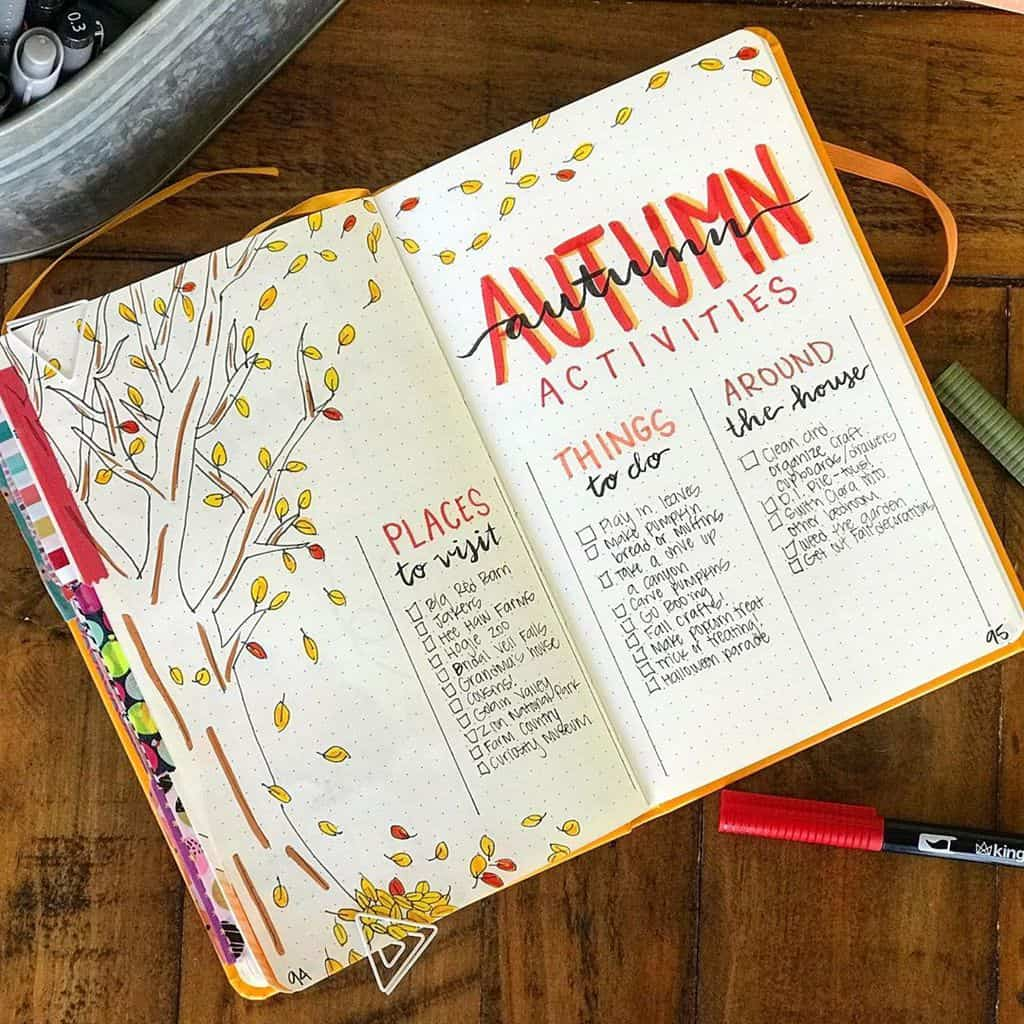 31 Fall Bucket List ideas and Bullet Journal Inspirations - spread by @journalingforjerks | Masha Plans