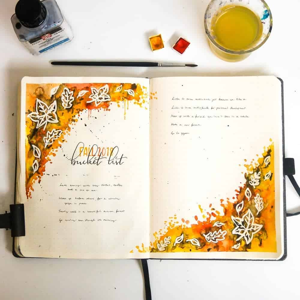 31 Fall Bucket List ideas and Bullet Journal Inspirations - spread by @maris.bujo   Masha Plans