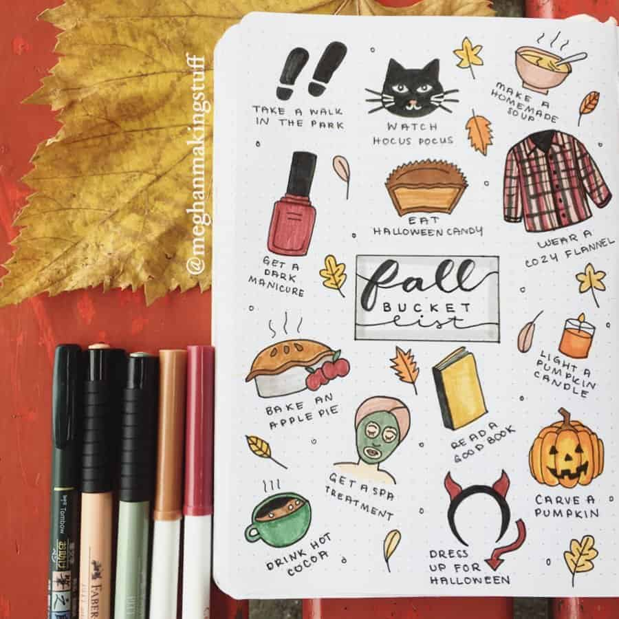 31 Fall Bucket List ideas and Bullet Journal Inspirations - spread by @meghanmakingstuff   Masha Plans