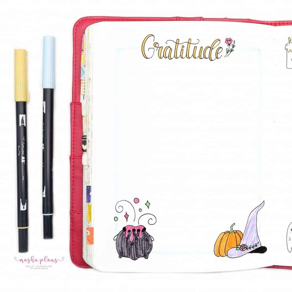 Plan With Me: October 2020 Bullet Journal Setup - gratitude log | Masha Plans