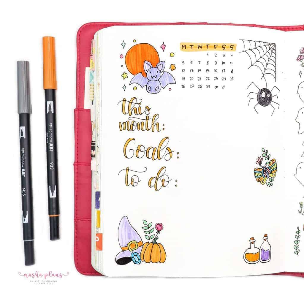 Plan With Me: October 2020 Bullet Journal Setup - monthly log | Masha Plans