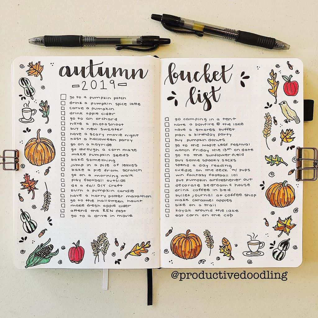 31 Fall Bucket List ideas and Bullet Journal Inspirations - spread by @productivedoodling   Masha Plans