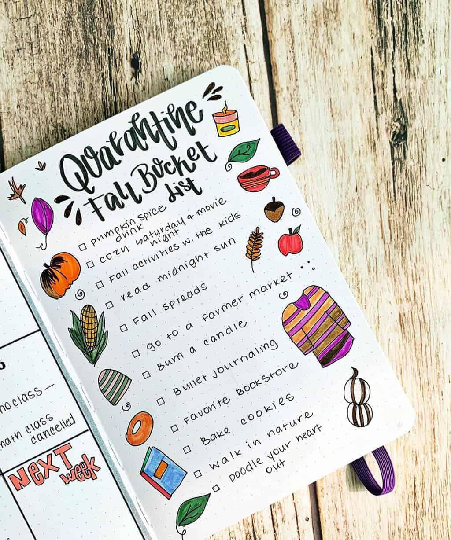 31 Fall Bucket List ideas and Bullet Journal Inspirations - spread by @theplannerteawithdani   Masha Plans