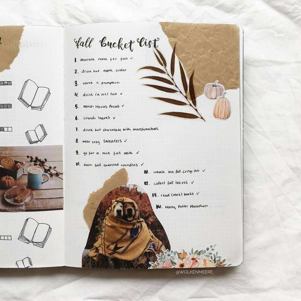 31 Fall Bucket List ideas and Bullet Journal Inspirations - spread by @wolkenmeere   Masha Plans