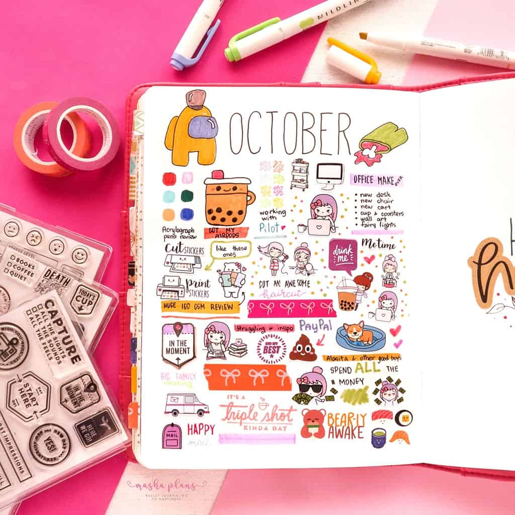 Among Us Themed Bullet Journal Inspirations, monthly memory page | Masha Plans