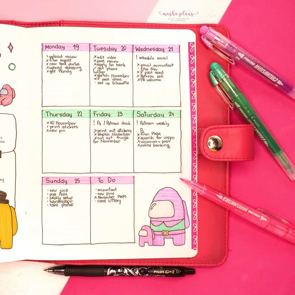 Among Us Themed Bullet Journal Inspirations, weekly spread | Masha Plans