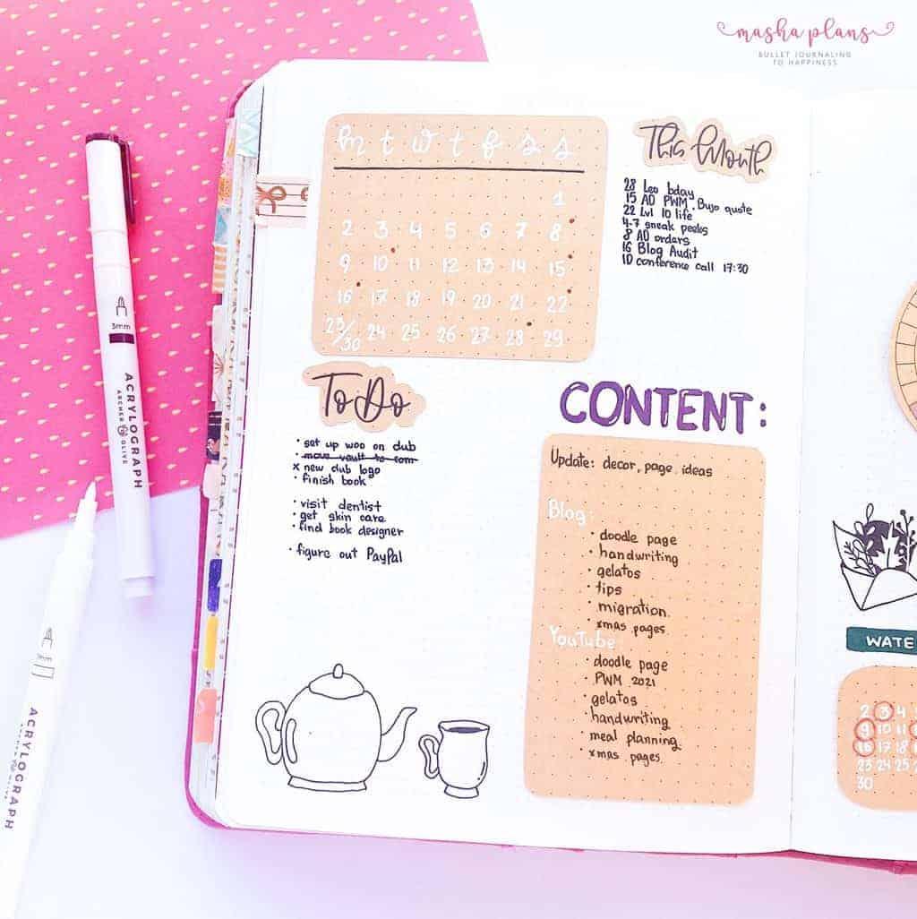 Cozy Fall Bullet Journal Setup: November Plan With Me, monthly log | Masha Plans