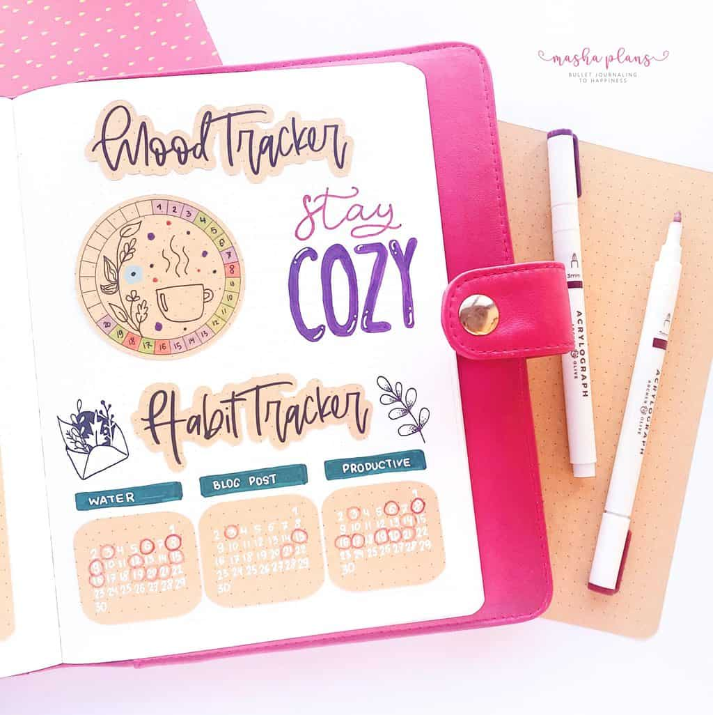 Cozy Fall Bullet Journal Setup: November Plan With Me, habit tracker, mood tracker | Masha Plans