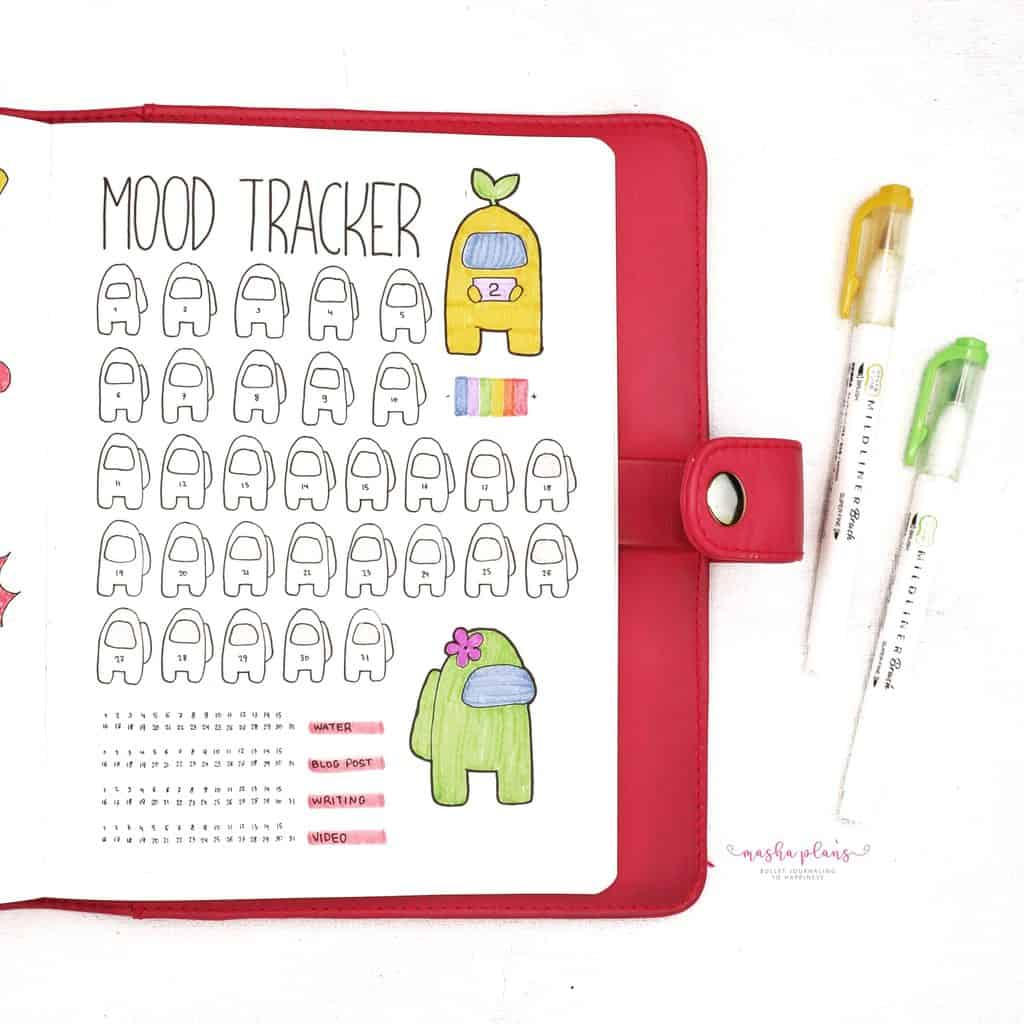 Among Us Themed Bullet Journal Setup - mood tracker, habit tracker | Masha Plans