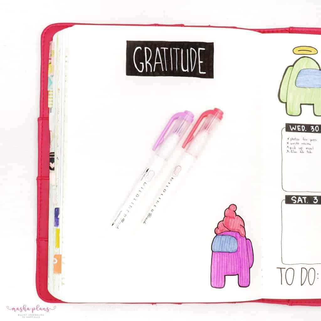 Among Us Themed Bullet Journal Setup - gratitude log | Masha Plans
