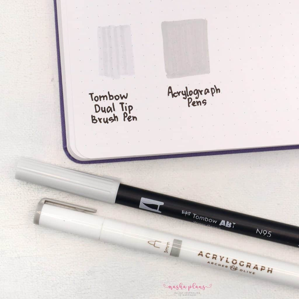 Archer and Olive Acrylograph Pens Review - comparison with tombow dual brush pen | Masha Plans
