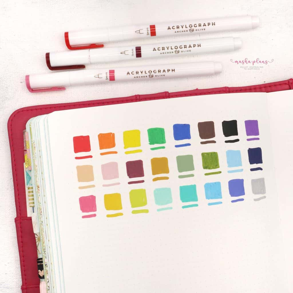 Archer and Olive Acrylograph Pens Review - pen test on Nuuna Journal | Masha Plans