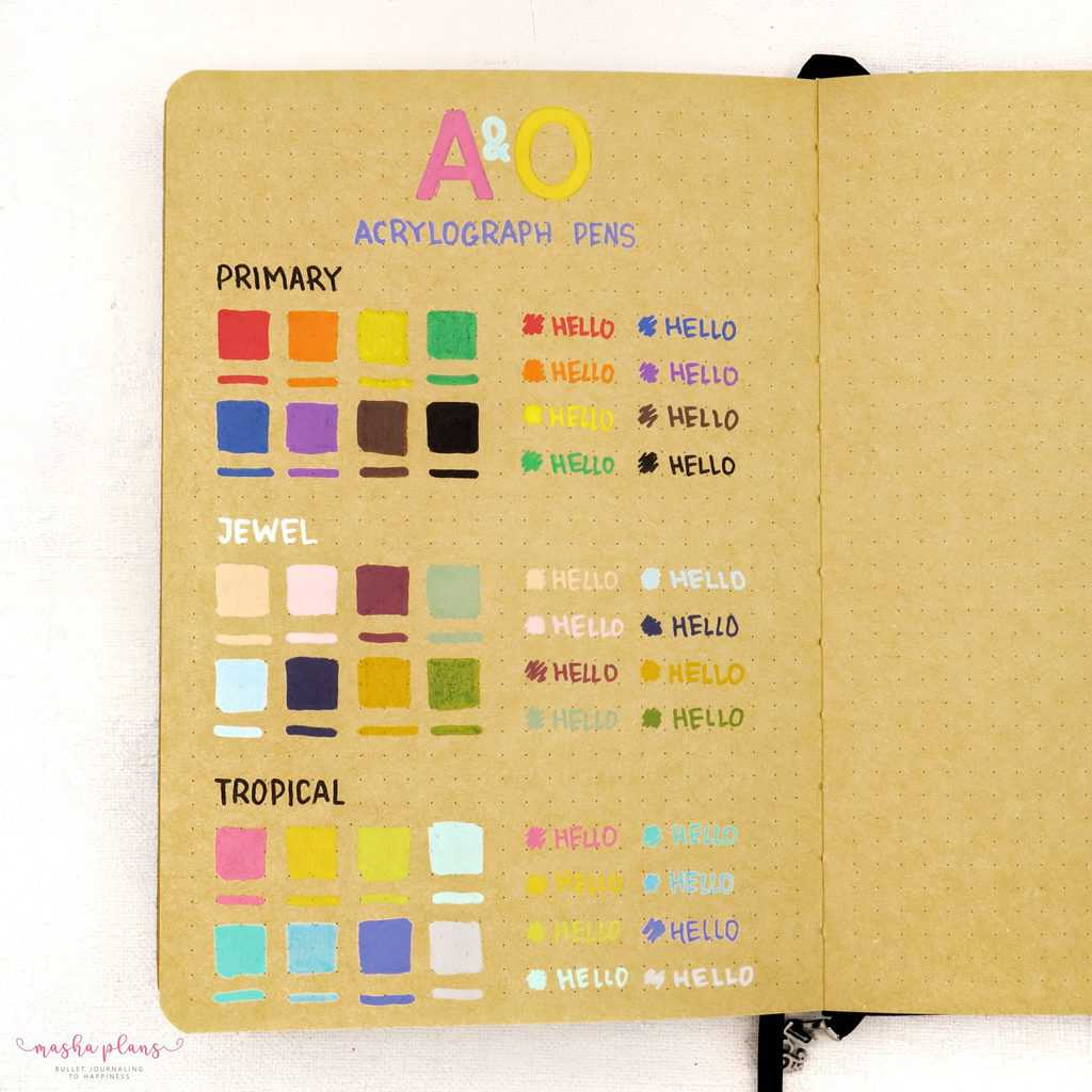 Archer and Olive Acrylograph Pens Review - pen test on kraft paper | Masha Plans