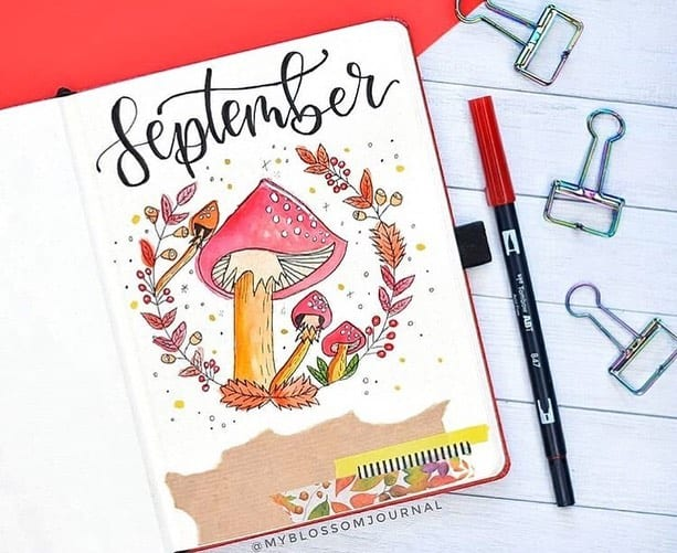 Kraft Paper Fall Bullet Journal Inspirations - cover page by @myblossomjournal | Masha Plans
